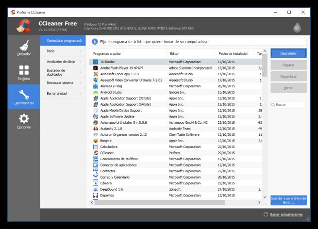 CCleaner - Desinstalar Modern Apps en Windows 8 y Windows 10