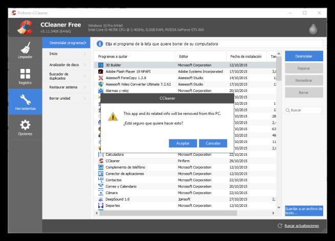 CCleaner - Desinstalar una Modern App