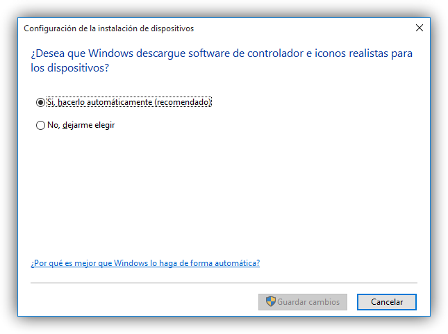 Configurar la descarga de drivers de Windows Update