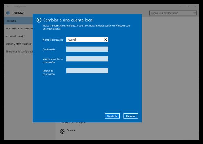 Configurar nueva cuenta local en Windows 10