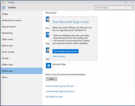 Cuadro de dialogo de Windows 10
