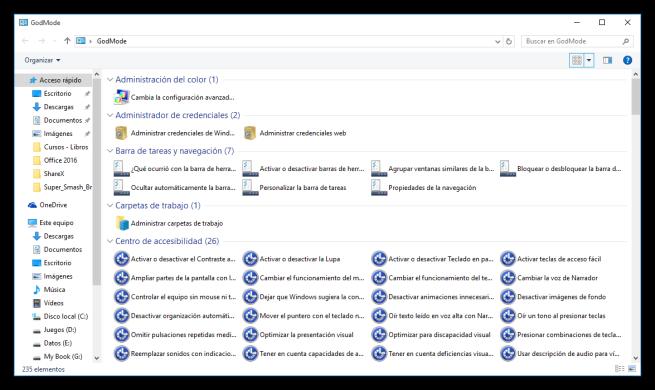 Modo DIos de Windows 10 - Opciones 1