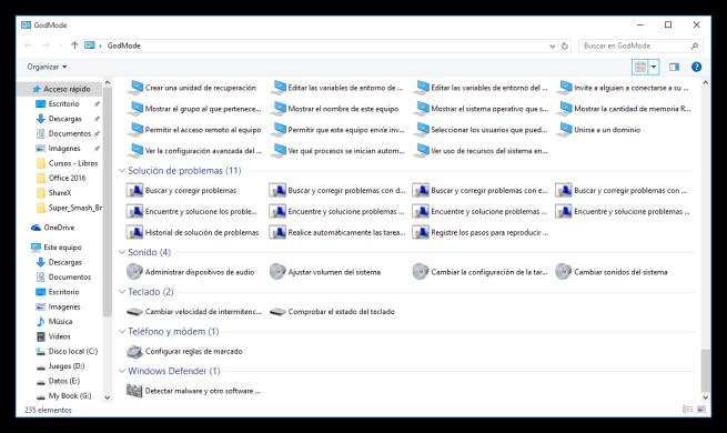 Modo DIos de Windows 10 - Opciones 2