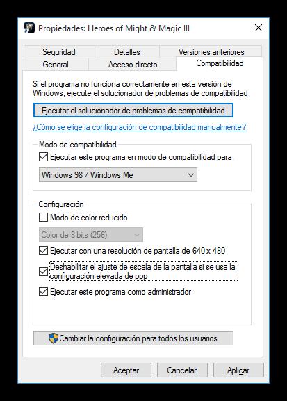 Modo compatibilidad para aplicaciones antiguas