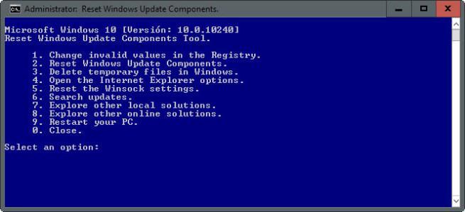 Reparar los componentes de Windows Update con Reset Windows Update Agent