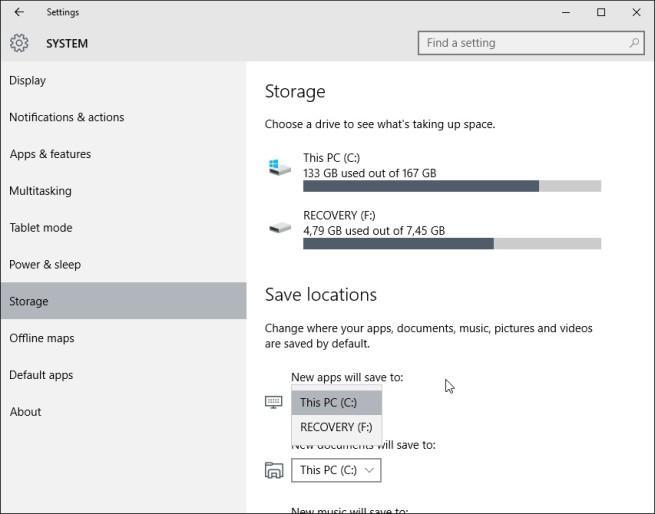 Windows 10 cambiar instalación de apps