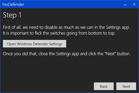 nodefender - paso 1 para desactivar Windows Defender