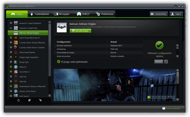 Panel de control de Nvidia