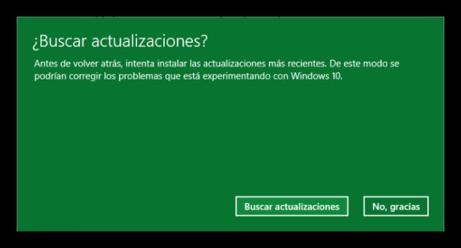 Buscar actualizaciones antes de desinstalar Windows 10