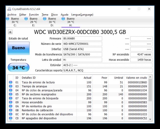 CrystalDiskInfo - Estado disco duro HDD