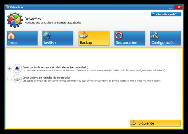 DriverMax - Apartado de Backup