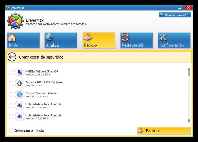 DriverMax - Crear copia de seguridad