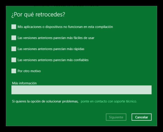Encuestra de cambio de sistema operativo de Windows 10