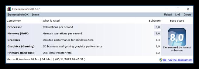 ExperienceIndexOK - La nota de Windows