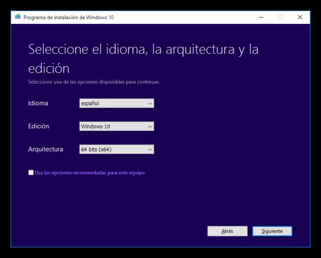 Windows 10 Media Creator - Configurar el sistema operativo