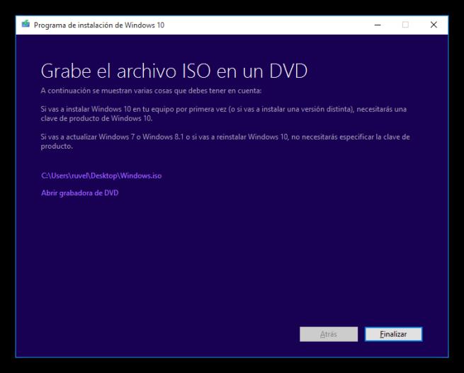 Windows 10 Media Creator - Grabar ISO a un DVD