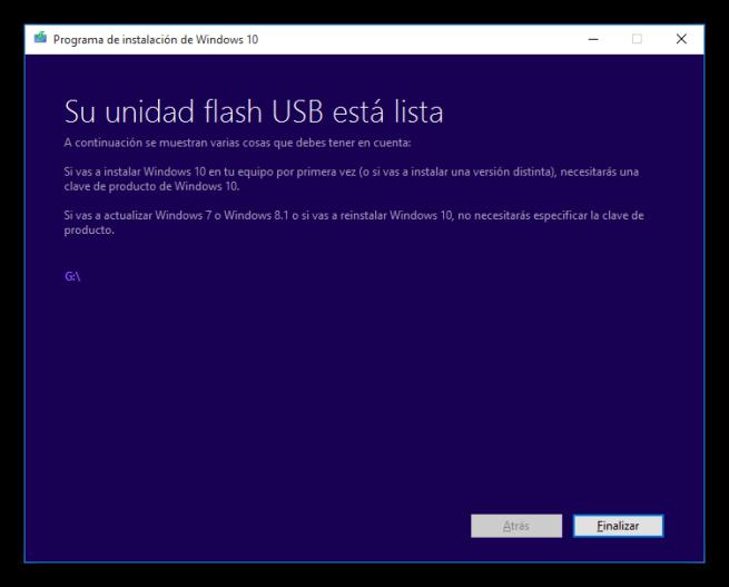 Windows 10 Media Creator - USb de instalación creado