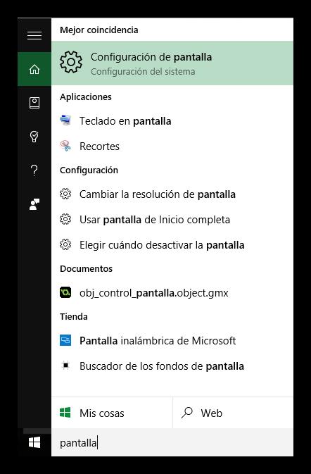 Abrir las propiedades de pantalla en Windows 10