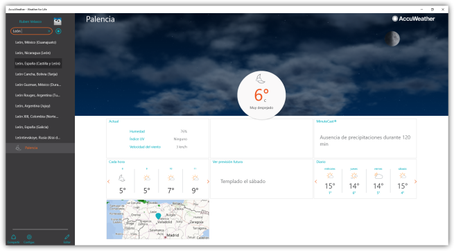 AccuWeather para Windows 10 - Buscar cuidades