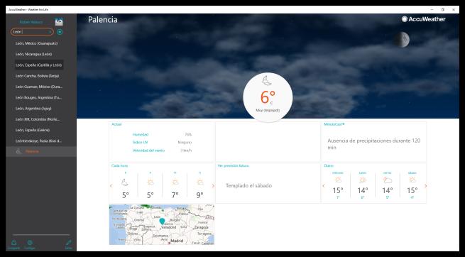 AccuWeather para Windows 10 - Buscar cuidades