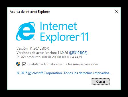 Acerca de Internet Explorer