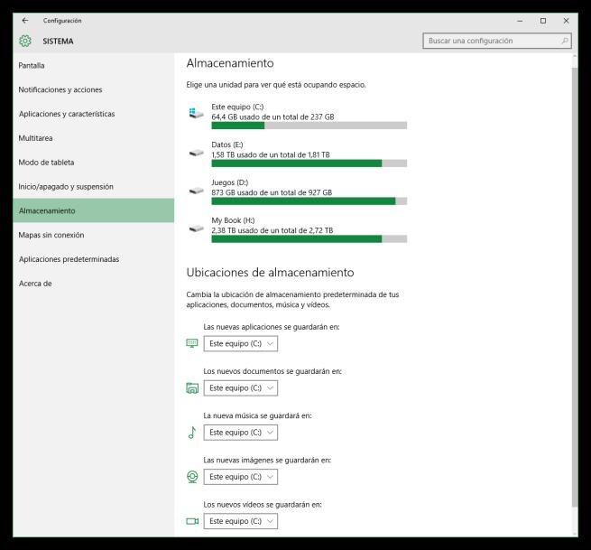 Configuración - Sistema - Almacenamiento de Windows 10