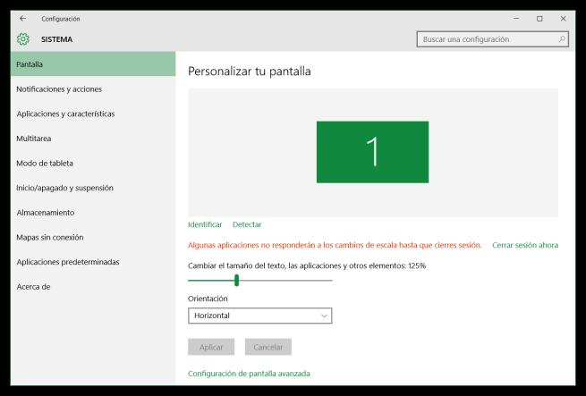 Configurar el tamaño de la fuente de Windows 10