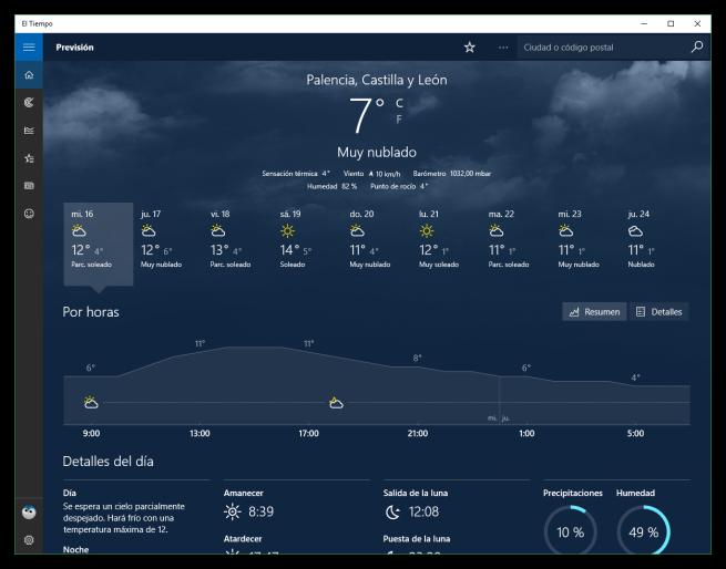 El Tiempo para Windows 10