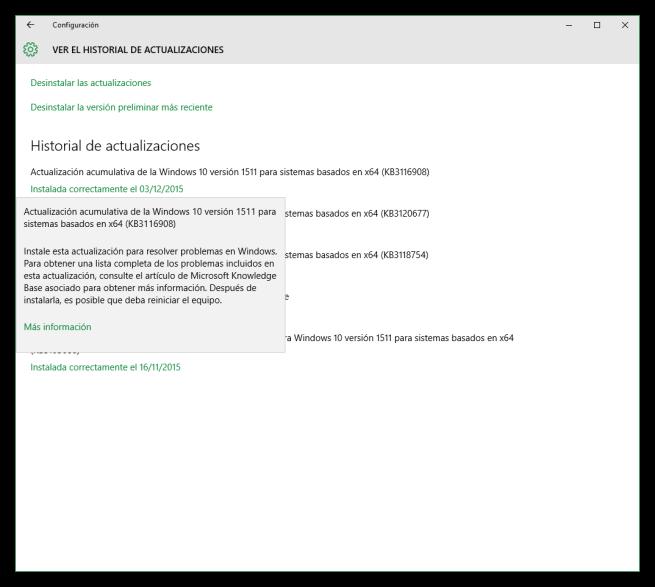 Windows 10 actualización KB3116908