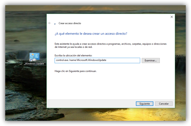 Acceso directo a Windows Update en Windows 10