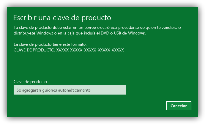 Cambiar licencia de Windows 10