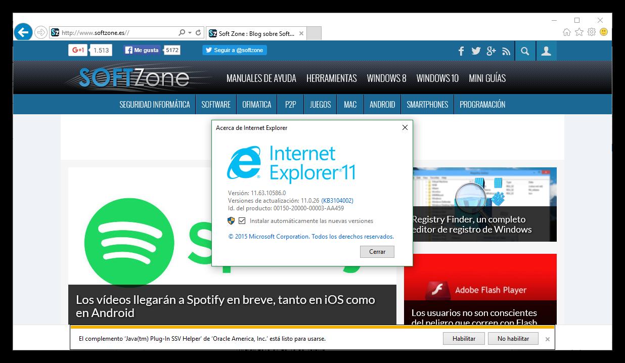 ultima version internet explorer:
