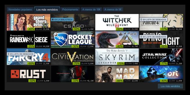 Juegos más vendidos de Steam dic. 2015