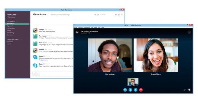 Slack integrado en Skype