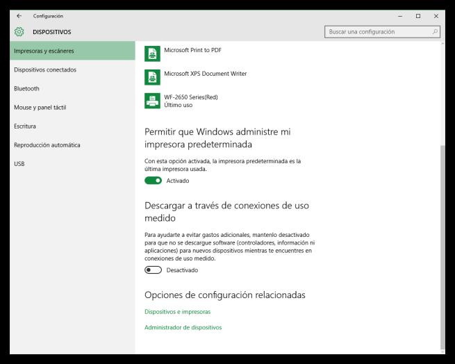 Configuración de dispositivos en Windows 10