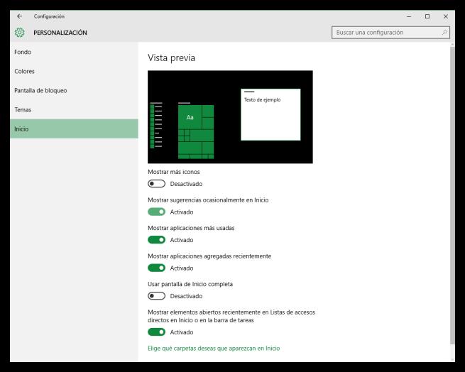 Desactivar sugerencias del inicio de Windows 10