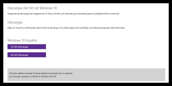 Descagar ISO de Windows 10 en español