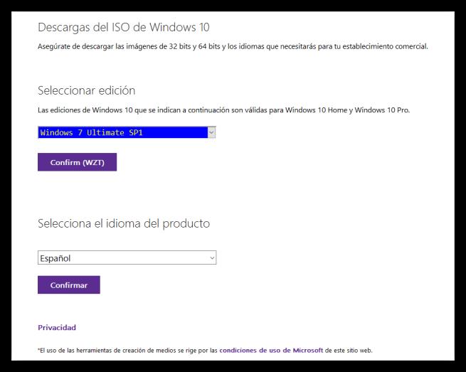 Descargar ISO Windows 7 o 8.1 - Idioma