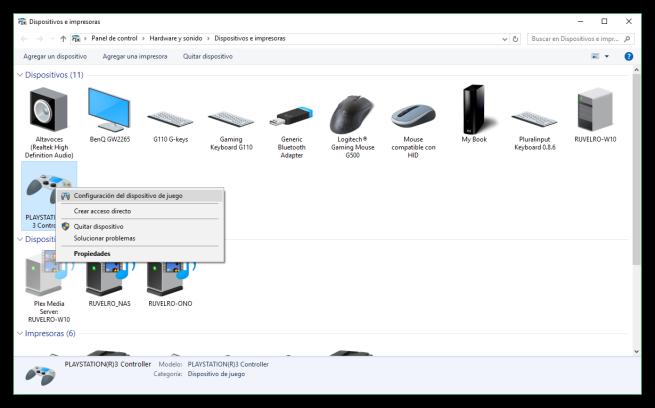 Dispositivos e impresoras de Windows 10 - Propiedades de mando