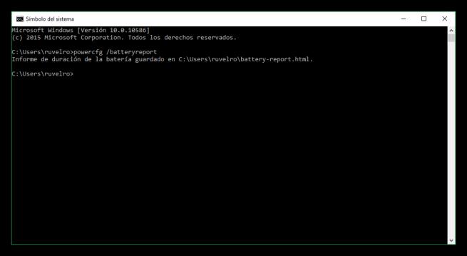 MS-DOS - Informe de batería en Windows 10