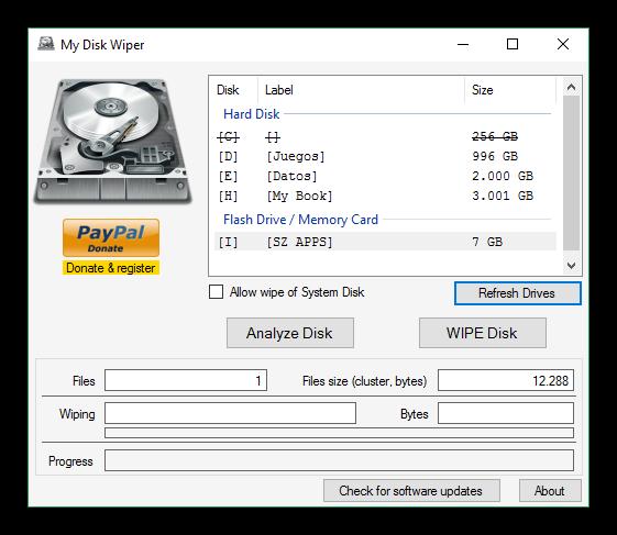 My Disk Wiper - Análisis de unidad