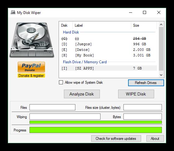 My Disk Wiper - Borrado seguro completado