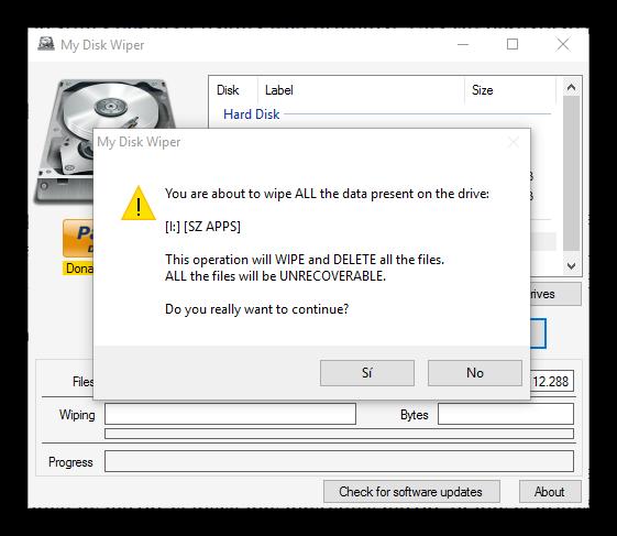 My Disk Wiper - Confirmar borrado