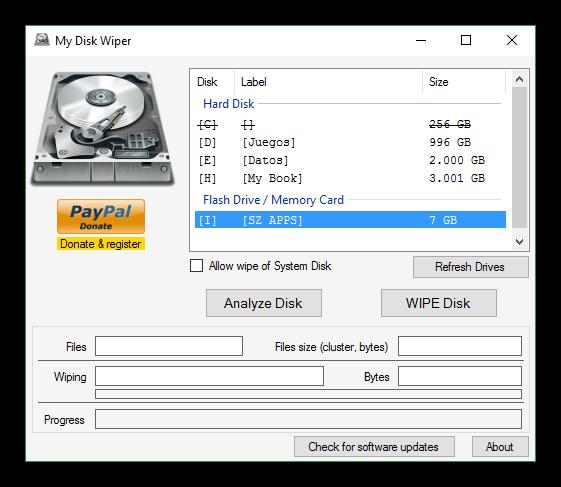My Disk Wiper - ventana principal
