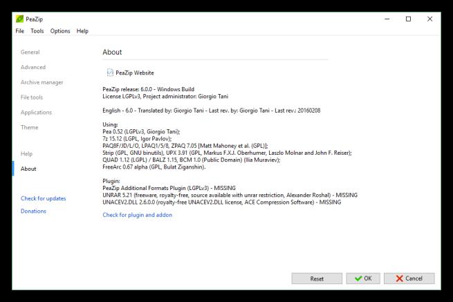 PeaZip actualización 6.0