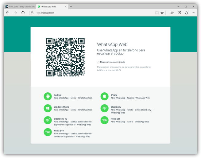 WhatsApp Web en Microsoft Edge