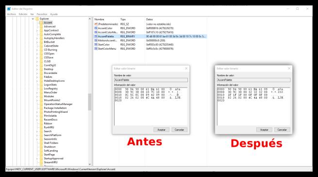 Cambio registro Windows 10 colores