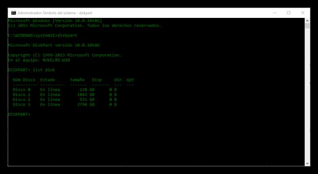 Lista de discos duros conectados al PC con Diskpart