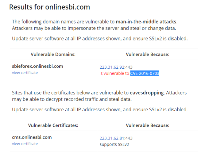 OpenSSL DROWN - Web vulnerable