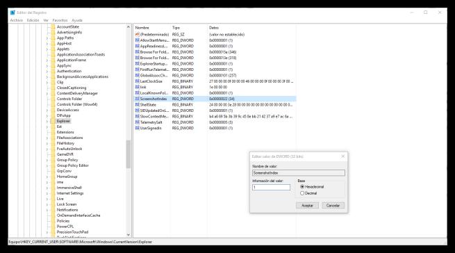 Restaurar el contador de los pantallazos en Windows 10